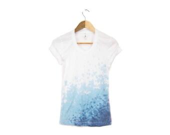 Ombre Hem - Splash Dyed Hand Stenciled Women's Scoop Neck Rolled Cuffs Tee in Teal Blue Ocean Wave - S M L XL