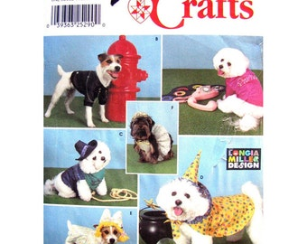 Simplicity 9884 Dog Coat Costume Sewing Pattern Princess Biker Wizard Cape Tiara Pet Halloween