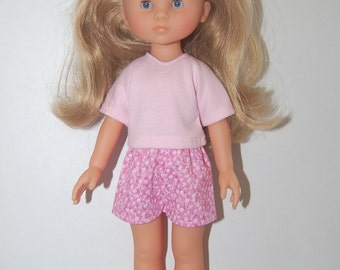 """Pink T-shirt  and Shorts Doll Clothes Corolle 13"""" Les Cheries 14"""" Hearts for Hearts  tkct435 READY TO SHIP"""