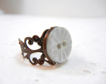 Button Ring in Pearly white / copper tone band / adjustable ring / Vintage button ring / upcycled / repurposed / OOAK / Autumn / brown cream