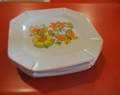 1970s butterfly dishes set of 4 square plates