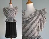 Vintage 1980s Dress - Elegant Gray and Black Peplum Dress - 80s Grayscale Dress S M