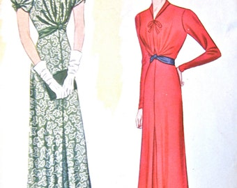 1930s dress pattern by Pictorial Review 9219    Bust  40
