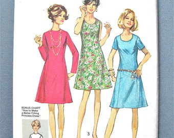 Uncut 1970s Vintage Simplicity 8889 OnePiece Dress Sewing Pattern  Bust 47 inches