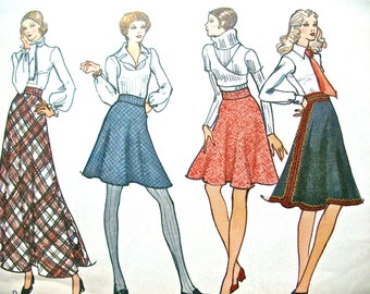 1970's Vintage Vogue 8351 Flared Skirt Vintage SewingPattern  Four Lengths  Waist 26.5