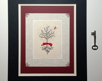 Midwinter Has Come - Double Matted Print, art print, tree, winter, red ribbon, cardinal
