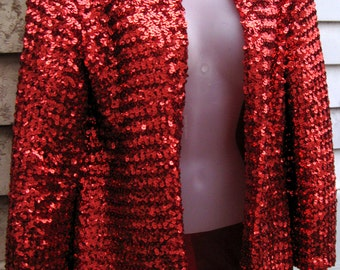 Small Christmas Red dress jacket 80s RED SEQUIN JACKET made originally for dress set, prom gown jacket red sequins, cocktail party jacket