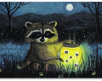 Raccoon Fireflies Wildlife Moonlight Original Painting 8x10 - Art Print by Bihrle cc9