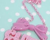 Creepy Cute Necklace Glitter Bow Laser Cut Pink Purple Sparkley Kyary Pamyu Pamyu Kawaii Lolita Fairy-kei Candy Goth