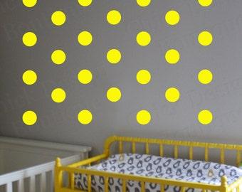 Bright Yellow Vinyl Wall Circle Polka Dot Decals