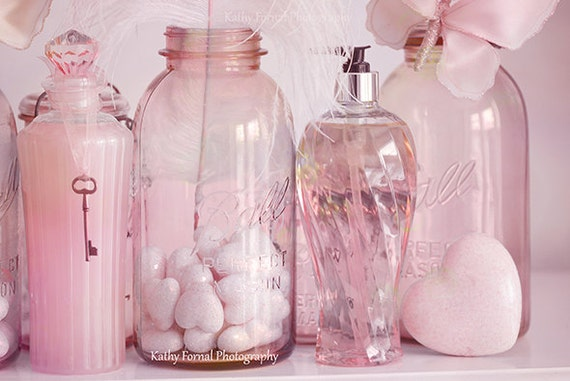 Bottle art pink shabby chic bottles print bottle home decor for Pink glass bathroom accessories