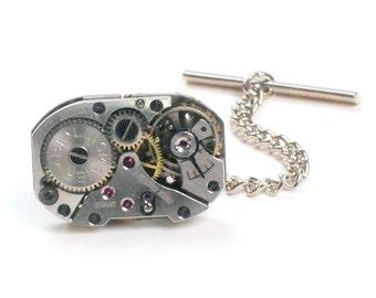 Steampunk Vintage Watch Movement Tie Tack Pin Chain Clip