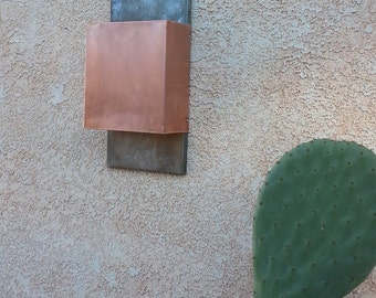 Contemporary Square Copper and Steel Light Sconce