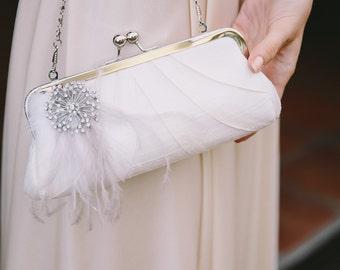 Adry Bridal Purse - wedding clutch - embroidered, custom, monogram