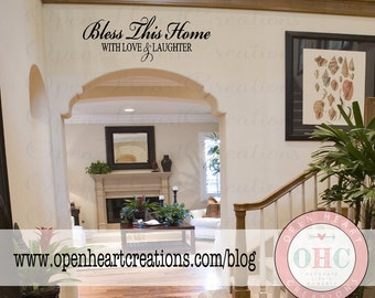 Bless This Home With Love and Laughter Wall Quote - Picture Photograph Family Wall Children Family Tree 10H X 36W Qt0054