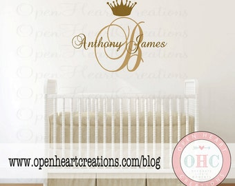 Prince Monogram Wall Decals - Initial and Name with Crown Accent - Vinyl Wall Decal for Baby Boy Nursery Bedroom 28h x 36w INA0064