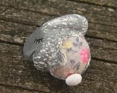 Little Grey Dawn Flower Garden Bunny Rabbit bead - Sleepy Woodland Critters hand painted vintage floral fabric bead (ready to ship)