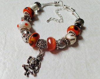 Halloween European Style Bracelet with Large Lampwork Glass Beads and Metal Charm of your Choice