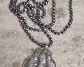 Sterling Silver Trilobite Fossil Necklace - Unisex, Men's Jewelry with 18 inch Oxidized Sterling Silver Diamond-cut Ball Chain