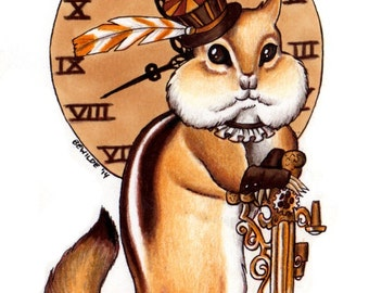 "Cheesepunk ""Gwendoline"" Limited Edition Print - MATTED brown - Steampunk Chipmunk"
