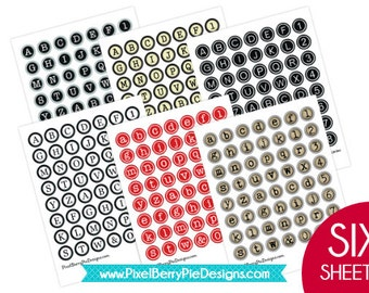 SET of 6 Typewriter Key Printable Sheets! 1 inch Bottle Cap Circle Collage Sheets (Six vintage-style alphabet buttons) GREAT DEAL!