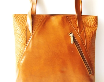 Women's Leather Bag, Leather Handbag, Leather tote, Shoulder Bag, Everyday Bag - in PEANUT BUTTER BROWN - Genuine Leather (No.1056)