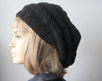 Charcoal Knit Hat, Winter Hat, Grey Beehive Beret, Dark Grey Knit Beret, Fall Fashion, Womens Hat, Knit Accessory