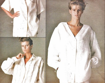 Vogue 1509 (Sz 8) Misses Shirt Pattern Loose-Fitting Button Front 3 Styles CALVIN KLEIN Designer 1980s Womens Vintage Sewing Pattern 80s