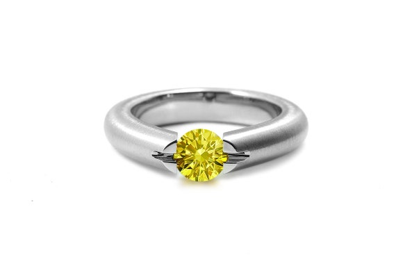 Yellow Sapphire High Tension Set Ring in Brushed Stainless Steel
