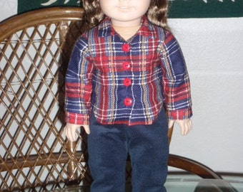 1940s After School Play Outfit Plaid Shirt Corduroy Pants for American Girl Molly Emily 18 inch dolls