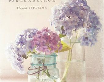 Pastel hydrangeas,still life,Shabby chic home decor,floral photography,aqua,cottage decor,wall art,fine art print