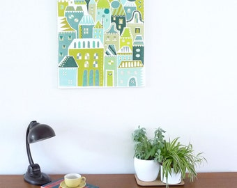 Green Houses Skyline, City Living, Large Framed Canvas Wall Art, Bright Modern Colorful Happy Illustration, Ready to Hang, Home Decor, LCGH1