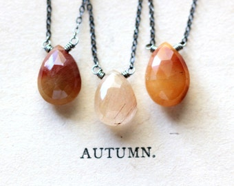 Autumn Layered Necklaces - Copper Rutilated Quartz Fall Jewelry Set - Santa Fe - Layering Brown Orange Gold Sterling Silver Necklaces