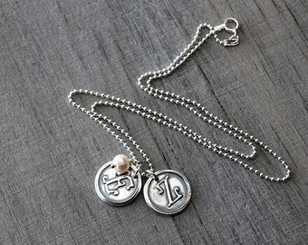 Two Personalized Initials with Pearl - Sterling Silver Chain - Customized Wax Seal Initials - Moms Necklace