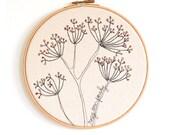 "Rosy Cow Parsley - Personalised Embroidery Hoop Art - Textile Artwork in pink and yellow - Medium 8"" hoop"