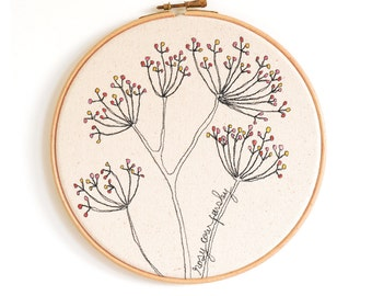 "Rosy Cow Parsley - Personalised Embroidery Hoop Art - Textile Artwork in pink and yellow - Medium 8"" hoop"
