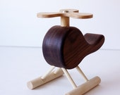 Walnut Toy Wood Helicopter with Spinning Rotor