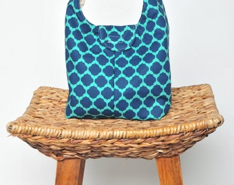 Insulated Lunch Bag - Navy and Teal Sultan Design