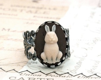 Some Bunny Loves You! Bunny Cameo Ring, Adjustable Filigree Ring, Rabbit Ring, Novelty Ring
