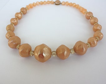 Vintage 50s Coro Bead Necklace Large Champagne Taupe Plastic Bead Necklace