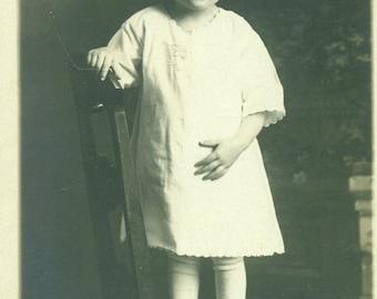 RPPC Toddler Girl White Dress Standing on Chair Helen Jones 1930s Real Photo Postcard Antique Vintage Black White Photo Photograph