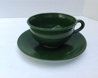 Hazel-Atlas Green Ovide Cup and Saucer