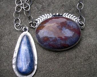 Jasper and Kyanite Necklace - Fantasy Jasper, Blue Kyanite Sterling Silver Necklace - Blue Stone Necklace with Leaf Detail - Sterling Silver