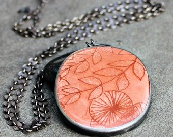 Enamel Necklace - Terra Cotta Enamel Necklace - Orange Brown Enamel Necklace - Lily Pads - Photo Enamel Necklace - Modern Enamel