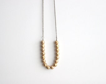 Long Gold Bohemian Tribal Necklace  // Bridesmaid Gifts // Metallic Gold Necklace // Vintage Wedding