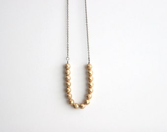 Bridesmaid Jewelry //Long Golden Bead Necklace // Metallic Gold Necklace // Bohemian Tribal Necklace