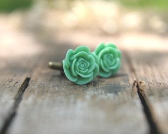 Seafoam Green Flower Cufflinks // Groom Gift // Best Man Gift //  Groomsmen Gift  // Vintage Wedding // Rustic Wedding