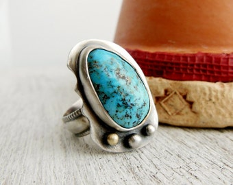 Boho Turquoise Ring - Sterling Silver Gemstone Ring - Real Turqoise Jewelry - Size 7 - Turquoise Statement Ring