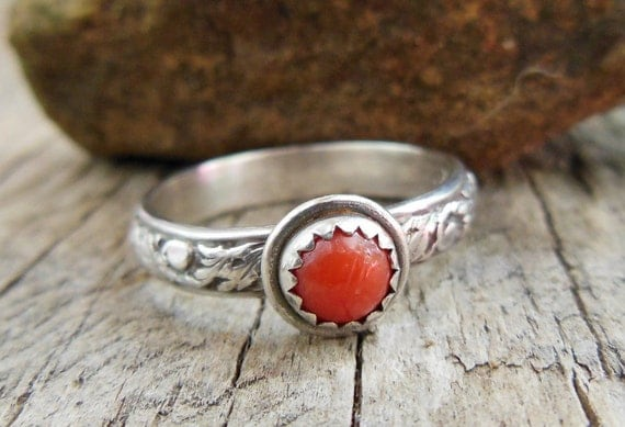 Oxblood Coral Ring- Sterling Silver Ring- Filigree Textured Band, Red Gemstone Stacking Ring- Jewelry for women