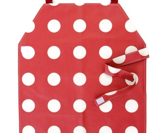 Waterproof Apron - Primary - Red Polka Dots